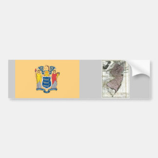 New Jersey Map and State Flag Bumper Sticker