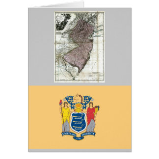 New Jersey Map and State Flag Greeting Card