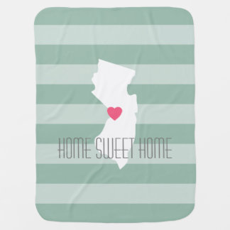 New Jersey Map Home State Love with Custom Heart Baby Blanket