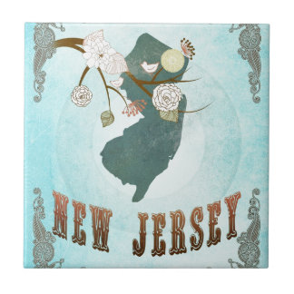 New Jersey Map With Lovely Birds Tile