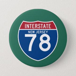 New Jersey NJ I-78 Interstate Highway Shield - 7.5 Cm Round Badge