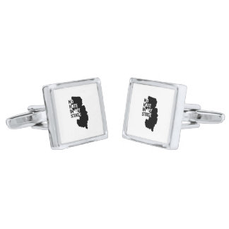 New Jersey: No Hate In My State Silver Finish Cufflinks