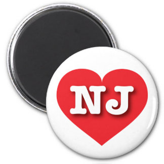 New Jersey red heart - Big Love 6 Cm Round Magnet