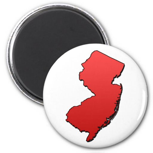 New Jersey Red Outline Refrigerator Magnets