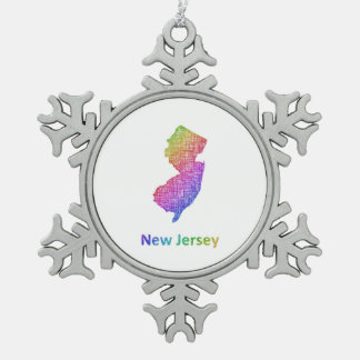 New Jersey Snowflake Pewter Christmas Ornament