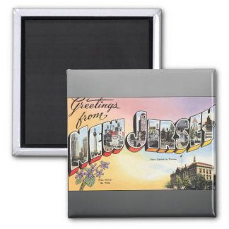 New Jersey State Capital In Teenion, Vintage Square Magnet