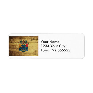 New Jersey State Flag on Old Wood Grain Return Address Label