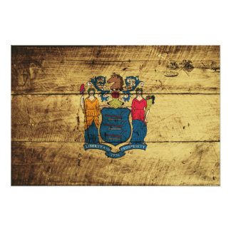 New Jersey State Flag on Old Wood Grain Photographic Print