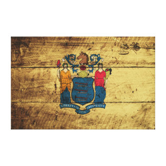 New Jersey State Flag on Old Wood Grain Stretched Canvas Prints