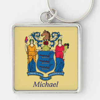 New Jersey State Flag Personalized Silver-Colored Square Key Ring