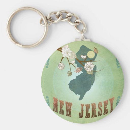 New Jersey State Map – Green Keychain