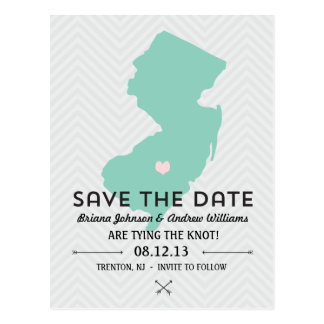 New Jersey State Save the Date Postcard
