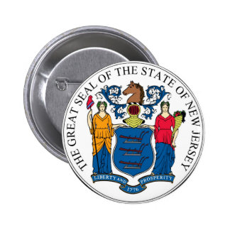 New Jersey State Seal and Motto Pinback Button
