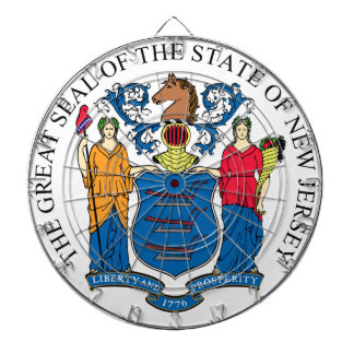 New Jersey State Seal Dartboard With Darts