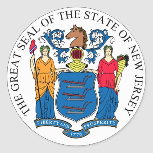 New Jersey State Seal Round Stickers