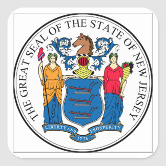 New Jersey State Seal Square Sticker