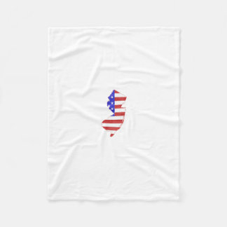New Jersey USA flag silhouette state map Fleece Blanket