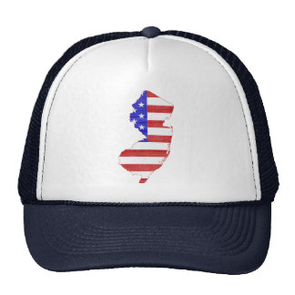 New Jersey USA flag silhouette state map Trucker Hats
