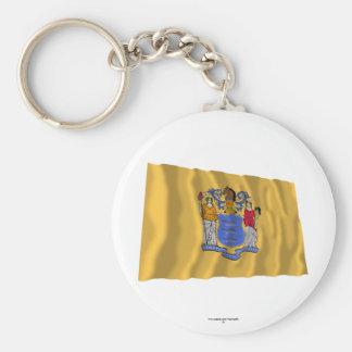 New Jersey Waving Flag Keychain