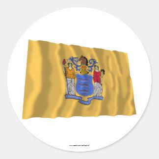 New Jersey Waving Flag Round Stickers