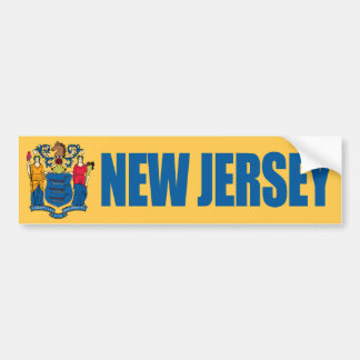 New Jersey with State Flag Bumper Stickers