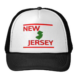 New Jersey with State outline Mesh Hats