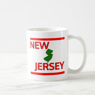 New Jersey with State outline Coffee Mugs