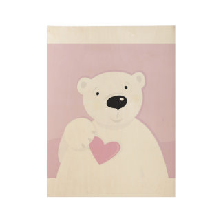 New kids wooden poster with Teddy bear