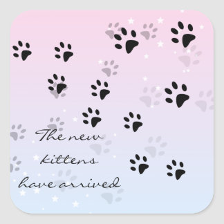 New Kittens Cat Footprints Square Stickers