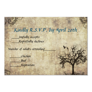 "New Life Vintage with Blue Wedding RSVP Card 3.5"" X 5"" Invitation Card"