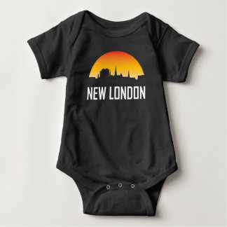 New London Connecticut Sunset Skyline Baby Bodysuit