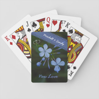 New Love Cerulean Frost Blue Flowers Playing Cards