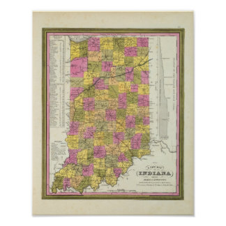 New Map Of Indiana 2 Poster