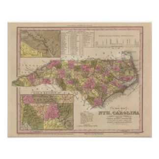 New Map Of North Carolina Poster