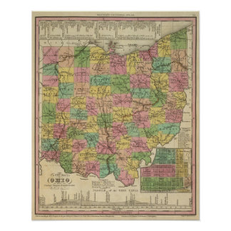 New Map Of Ohio 2 Poster