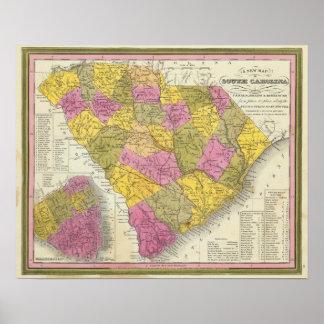 New Map Of South Carolina Poster