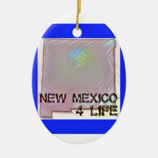 """""""New Mexico 4 Life"""" State Map Pride Design Ceramic Ornament"""