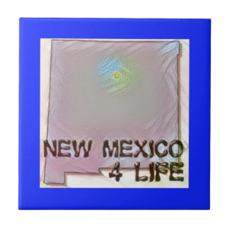 """New Mexico 4 Life"" State Map Pride Design Ceramic Tile"