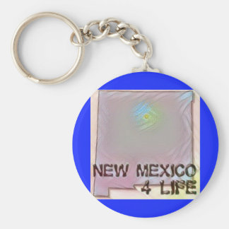 """""""New Mexico 4 Life"""" State Map Pride Design Key Ring"""