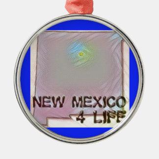 """New Mexico 4 Life"" State Map Pride Design Metal Ornament"