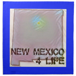 """New Mexico 4 Life"" State Map Pride Design Napkin"