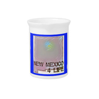 """New Mexico 4 Life"" State Map Pride Design Pitcher"