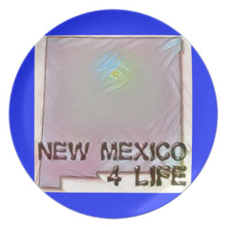 """New Mexico 4 Life"" State Map Pride Design Plate"