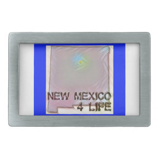 """New Mexico 4 Life"" State Map Pride Design Rectangular Belt Buckle"