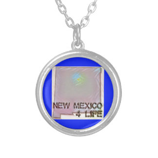 """""""New Mexico 4 Life"""" State Map Pride Design Silver Plated Necklace"""