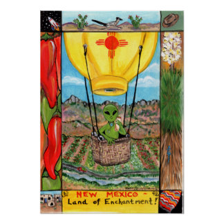 New Mexico Alien Balloon Icons Poster Chile Yucca