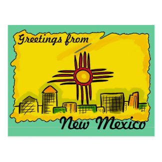 New Mexico artistic skyline state flag postcard