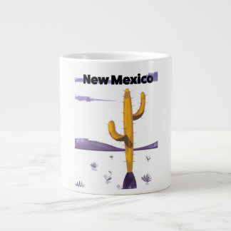 New Mexico Cactus vintage style vacation poster. Large Coffee Mug