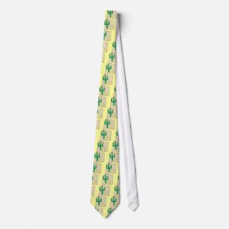 New Mexico Cartoon Map State plant the Cactus Tie