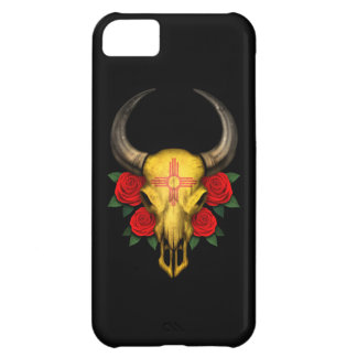 New Mexico Flag Bull Skull with Red Roses Case For iPhone 5C